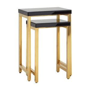 Kensington Townhouse Black High Gloss Gold Metal Nest Of Tables