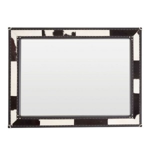 Kensington Townhouse Black and White Genuine Cowhide Wall Mirror
