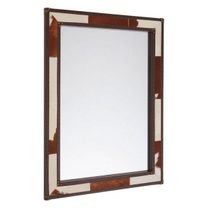 Kensington Townhouse Brown and White Genuine Cowhide Wall Mirror