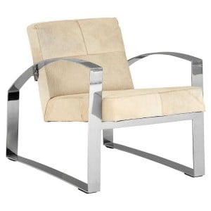 Kensington Townhouse Genuine Leather Chair With Stainless Steel Legs