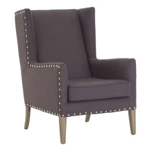 Kensington Townhouse Grey Fabric Wingback Armchair