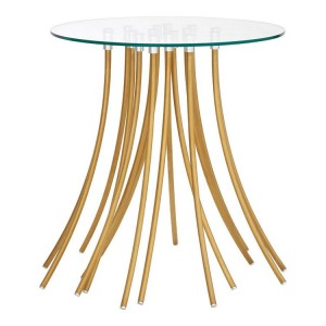 Kensington Townhouse Metal and Tempered Glass Side Table