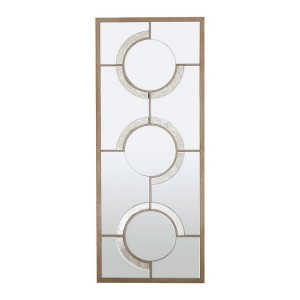 Kensington Townhouse Natural Wood and Mirrored Glass Wall Mirror