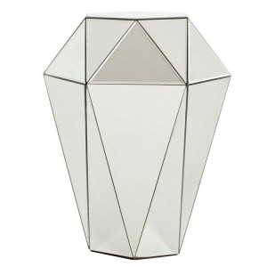 Kensington Townhouse Silver Finish Metal and Mirrored Glass Stool