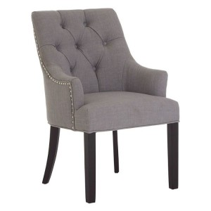 Kensington Townhouse Soft Grey Fabric Button Tufted Dining Chair