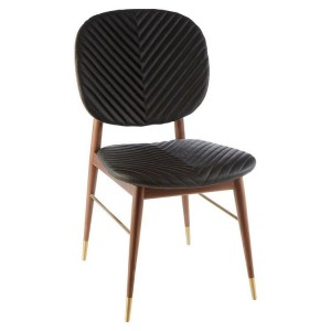 Kenso Walnut Wood Furniture Dining Chair with Brass Finish