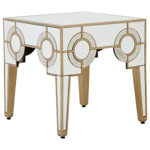 Knightsbridge Mirrored Glass Furniture Art Deco Square Side Table