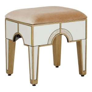 Knightsbridge Mirrored Glass Furniture Square Dressing Table Stool