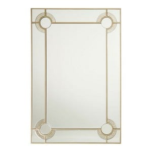 Knightsbridge Mirrored Glass Furniture Tall Rectangular Wall Mirror