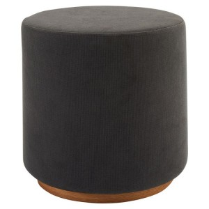 Kolding Grey Fabric and Ash Wood Veneer Round Stool
