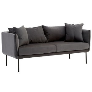 Kolding Grey Fabric and Black Metal 2 Seater Sofa