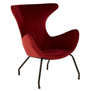Kolding Red Fabric and Black Metal Wing Back Chair