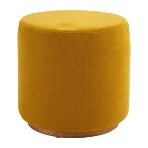 Kolding Yellow Fabric and Ash Wood Veneer Round Stool