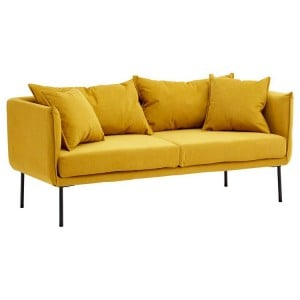 Kolding Yellow Fabric and Black Metal 2 Seater Sofa