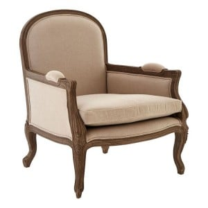 Loire Painted Furniture Beige Fabric and Mahogany Wood Armchair