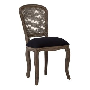 Loire Painted Furniture Black Fabric and Mahogany Wood Armless Chair