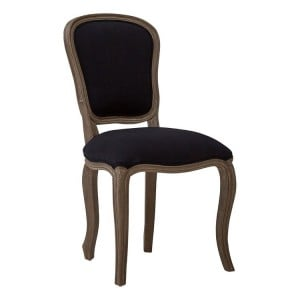 Loire Painted Furniture Black Fabric and Mahogany Wood Dining Chair
