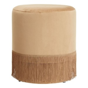 Louxor Brown Polyester Velvet Upholstered Pouffe