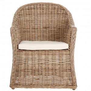 Lovina Grey Kubu Rattan Rounded Back Chair