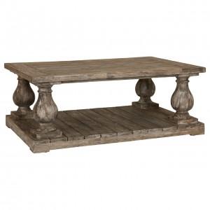 Lovina Reclaimed Pine Wood Furniture Pillars Coffee Table