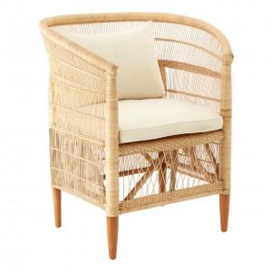 Lovina Natural Rattan and White Linen Chair