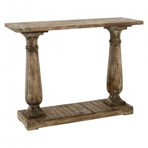 Lovina Reclaimed Pine Wood Furniture Pillar Console Table with Shelf