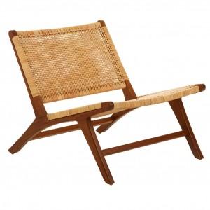 Lovina Teak Wood and Rattan Lounge Chair