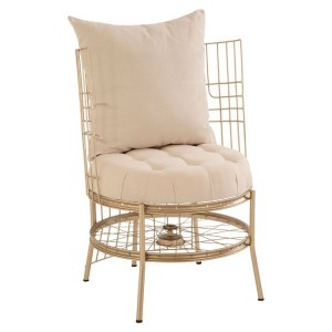 Mantis Champagne Gold Finish Chair with Button Tufted Cushion