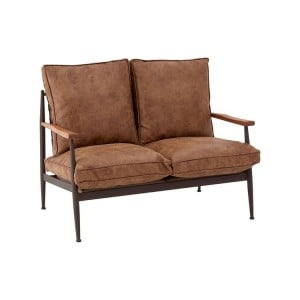 New Foundry Industrial Furniture Brown Leather Effect 2 Seater Sofa
