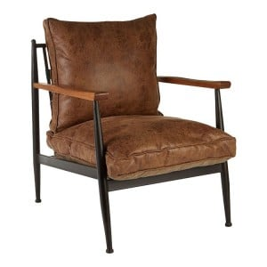 New Foundry Industrial Furniture Brown Leather Effect Armchair