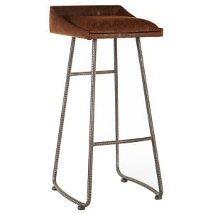 New Foundry Industrial Furniture Brown Leather Effect Bar Stool