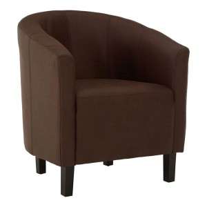 New Foundry Industrial Furniture Dark Brown Leather Effect Tub Chair