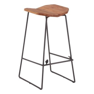 New Foundry Industrial Furniture Elm Wood Metal Round Bar Stool