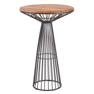 New Foundry Industrial Furniture Elm Wood Metal Round Bar Table
