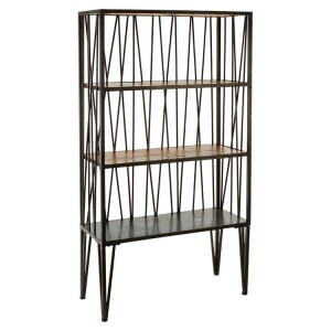 New Foundry Industrial Furniture Fir Wood and Metal 4 Tier Shelf Unit