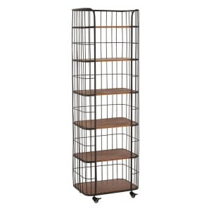 New Foundry Industrial Furniture Fir Wood and Metal 6 Tier Shelf Unit
