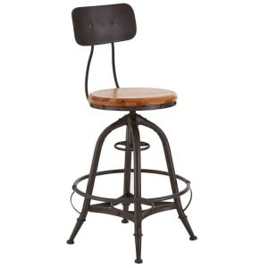 New Foundry Industrial Furniture Fir Wood and Metal Adjustable Bar Chair