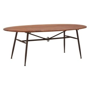 New Foundry Industrial Furniture Metal and Walnut Oval Dining Table