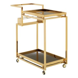 Novo Gold Metal & Black Tempered Glass 3 Tier Trolley