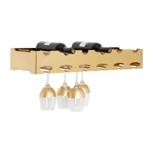 Novo Gold Metal Wall Mounted 6 Bottle Wine Rack with Glass Holder