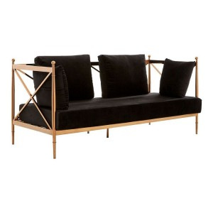 Novo Rose Gold Metal & Black Velvet 2 Seater Sofa with Latticed Arms