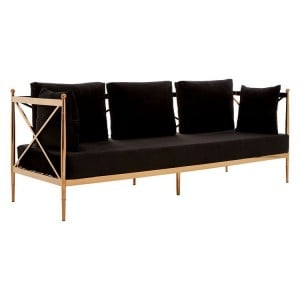 Novo Rose Gold Metal & Black Velvet 3 Seater Sofa with Latticed Arms