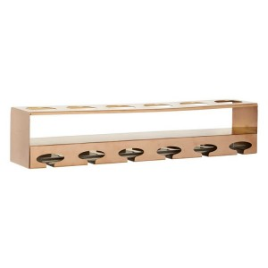 Novo Rose Gold Metal 6 Bottle Wine Rack with Glass Holder