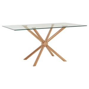Novo Rose Gold Metal & Clear Tempered Glass Rectangular Dining Table