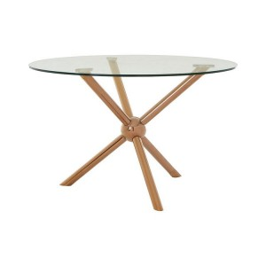 Novo Rose Gold Metal & Clear Tempered Glass Round Dining Table