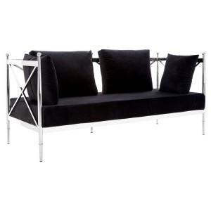 Novo Silver Metal & Black Velvet 2 Seater Sofa with Latticed Arms