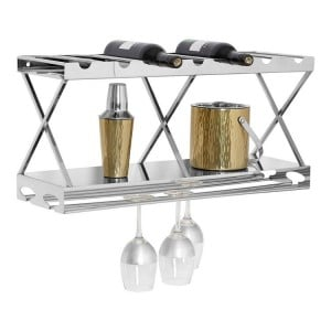 Novo Silver Metal 2 Tier Wine Rack with 7 Bottle Holders