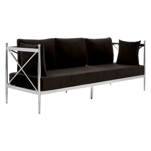 Novo Silver Metal & Black Velvet 3 Seater Sofa with Latticed Arms