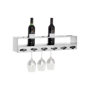 Novo Silver Metal 6 Bottle Wine Rack with Glass Holder