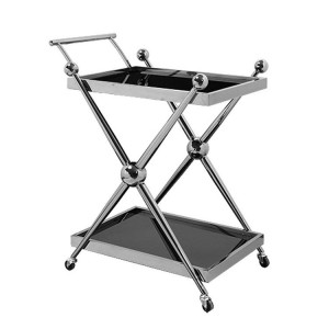 Novo Silver Metal & Black Tempered Glass 2 Tier Cross Design Trolley